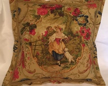 Country French Cottage Toile Pillow Gold Romantic Fringed Paris Parisian