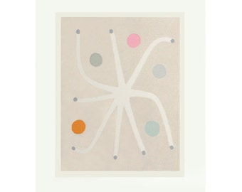 Fairy Seed, large original abstract screenprint, modern botanical, Scandinavian home by Emma Lawrenson.