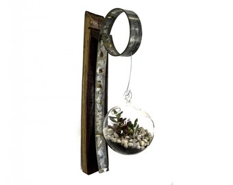 Orbicular - Wine Barrel Stave Ring and Glass Terrarium