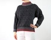 VINTAGE 1980s Sweater Black White