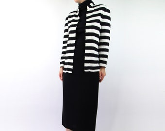 VINTAGE Black White Stripe Knit Top Open Cardigan