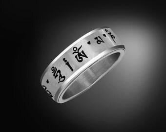 Buddhist Mantra/Prayer Ring - Om Mani Padme Hum - Stainless Steel Spinner Ring