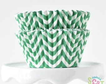 Chevron Green BakeBright GREASEPROOF Baking Cups Cupcake Liners | ~30