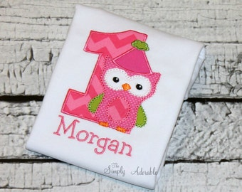 Girl's Owl Birthday, Personalized Owl Birthday Shirt, Owl Shirt, Look Who's One, Woodland Birthday, Forest Birthday