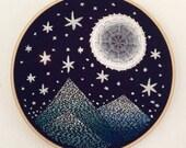 """Moon Lit Peaks 6"""" Original Embroidery Hoop Art"""