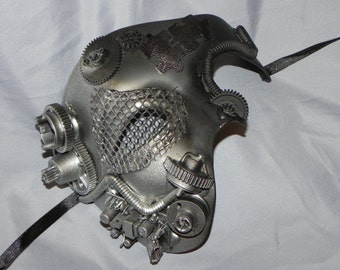 Silver and Black Phantom of the Opera Mask with Steampunk Detailing - Steampunk Mask