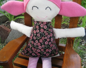 Rag Doll, Cloth Doll in Pinks & Black READY TO SHIP