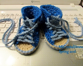NEW - Crochet Hi Top Peep Toe Summer Lace Up Shoe in Royal Blue - Customize Your Color