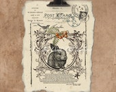 Artisan Velveteen Rabbit Handmade Paper Print.
