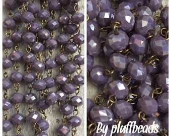 sale American Artisan assembled Handmade Beaded Chain opaque ROYAL PURPLE luster roundel 8x6mm Faceted Crystal Beads