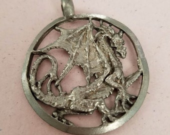 Vintage Signed Pewter Winged Dragon Pendant AE Roncari 1987