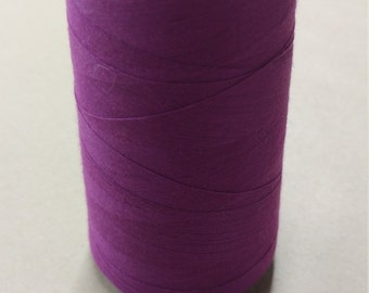 American & Efrid ~6000yds Plum Purple Tex 27 Spun Polyester thread cone USA