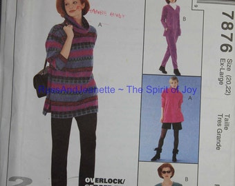 SIze 20 22 McCalls 7879 Top Pull On Pants Shorts and Skirt Stretch Knits Casual Wardrobe Plus Size  Womens Misses  Uncut Sew Sewing Pattern