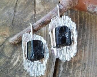 Black Tourmaline Earrings. Rough Black Tourmaline And Sterling Silver Earrings. Dangle Earrings. Mineral Earrings. Tourmaline Properties.