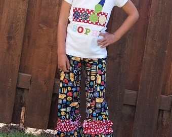 Back to School Outfit, Ruffle Pant Set ... Toddler Youth Girl Sizes - Clothing for Girls