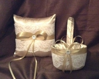 champagne and ivory or white lace flower girl basket and pillow custom made