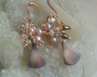 Coral and Freshwater Pearls Cluster Earrings on Rose Gold Pave Bridal Earrings