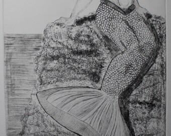 Charming Mermaid Drypoint Print
