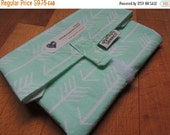 Earth Day Sale BIGGER, FRESHER Reusable Sandwich Wrap by SewEco// Triple Layered/INSULATED option/Mint Arrows