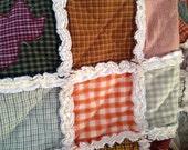 Primitive Homespun Autumn Rag Quilt With Appliqued Leaves CUSTOM ORDER