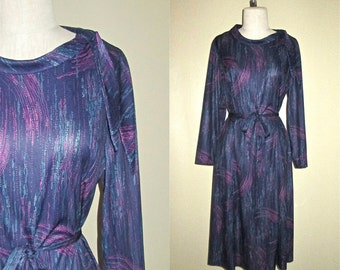 Vintage 80's secretary dress dark PURPLE ABSTRACT print tie collar - M/L