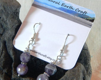 Dark purple faceted amethyst earrings February birth stone birthstone semiprecious stone jewelry  packaged in a gift bag 2236B