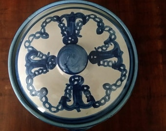 Louisville Pottery Rare Anchor Nautical Decoration Covered Casserole 2 Quart