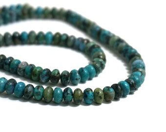 African Turquoise Beads, 6mm x 4mm rondelle, natural Jasper gemstone, Full & Half strands available  (1216S)