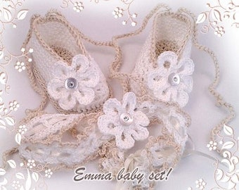 EMMA Baby set crochet pattern - booties with matching headband. Full of large pictures! Permission to sell finished items.