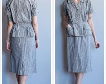 1950s Suit // Plaid Cotton 2pc Suit // vintage 50s set