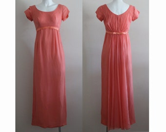 Vintage 1960s Silk Coral Chiffon Dress / Vintage Coral Dress / Vintage Chiffon Dress / Long Chiffon Dress / Coral Chiffon Dress / Size Small