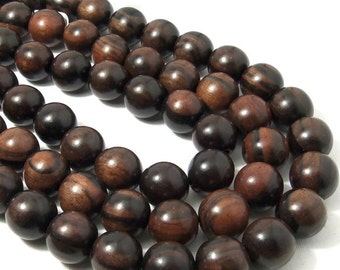 Ebony Wood Bead, 18mm, Medium to Dark Brown, Round, Smooth, Natural Wood Beads, Large, Big, 16 Inch Strand - ID 2193-DK