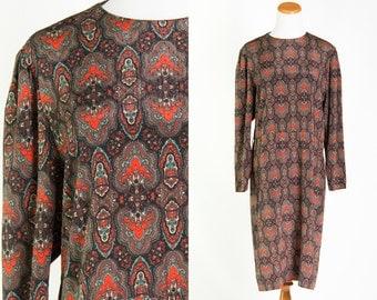 Vintage 1980s Brown Aqua Rust Orange Paisley Secretary Dress * Long Sleeves Ribbed Silky Knee Length * Size Large X-large * FREE SHIPPING