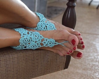 Crochet barefoot sandals light blue vintage footless sandals foot jewelry summer cotton boho