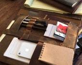 Aberdeen Pad-folio, handmade leather folio, iPad notebook/notepad portfolio, leather iPad/tablet organizer, document holder by Aixa Sobin