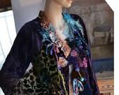 RESERVED For Nadia Unique Beautiful Velvet/Plush Jacket TRIBAL HOLIDAY Tattered Antoinette Fairy Old Millinery Details Boho Gipsy