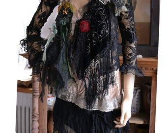 RESERVED For N. Unique Art To Wear Black Lace With Roses Jacket Dep Forest POISONOUS BERRIES Fairy Gipsy Silk Velvet  Tattered