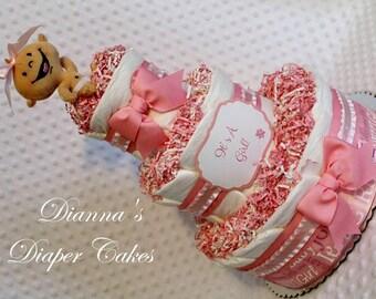 Baby Diaper Cake Pink Girls Shower Gift or Centerpiece