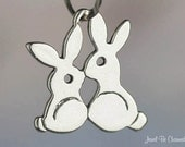Rabbits Kissing Charm Sterling Silver Bunny Rabbit Love Flat Shiny 925