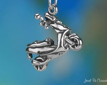 Moped Charm Sterling Silver Motorized Scooter Vehicle 3D Solid .925