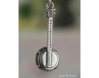 Sterling Silver Banjo Charm Musical Instrument Banjo Player Solid .925