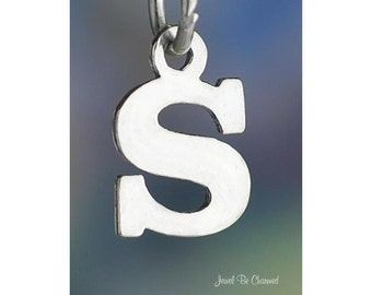 Sterling Silver Small Letter S Charm Initial Capital Letters Solid 925