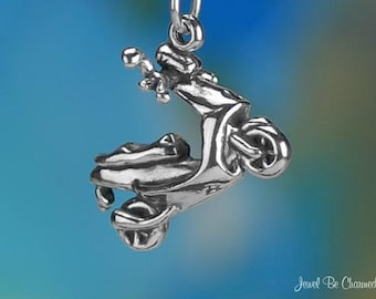 Sterling Silver Moped Charm Motorized Scooter Vehicle 3D Solid .925