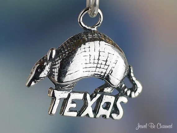 Texas Armadillo Charm Sterling Silver Texan State Animal Solid .925