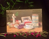 Antique Christmas Postcard - Ad for Moser Roth Chocolate - Santa - Angels