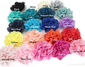 "Eyelet Flowers -  2 1/2"" - Set of 6 or 12 - DIY Headbands-Baby Headband Station-Wedding Garter - You Pick your colors"