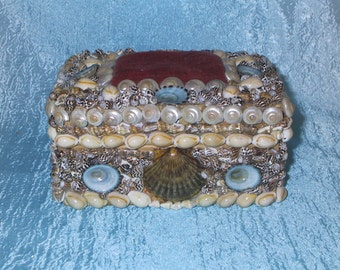 Upcycled Antique Sewing pincushion box with sea shells Faux Sailors Art
