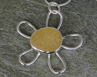 Yellow Sea Glass Flower Bezel Pendant Necklace