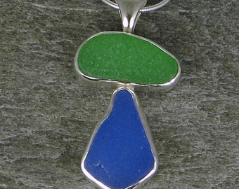 Blue and Green Sea Glass Bezel Pendant Necklace