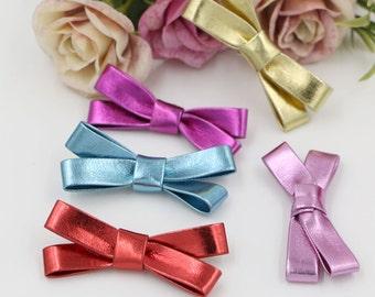 6 pcs Handmade PU Leather Bows (5.6 cm ) Girls Hair Clips Hairbands Embellishment